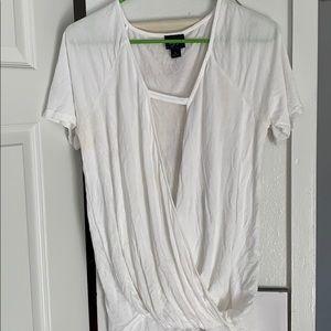 Low cut white blouse